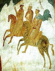 Волхвы. Фреска Рождественского собора Ферапонтова монастыря. Дионисий. 1500-1502 гг.